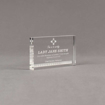 """Angle view of Aspect™ 5"""" Rectangle™ Acrylic Award featuring laser engraved Sphinx Court logo and Life Member text."""