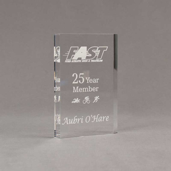 """Angle view of Aspect™ 6"""" Rectangle™ Acrylic Award featuring laser engraved FAST logo with 25 Year Member text."""