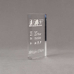 """Side view of Aspect™ 6"""" Rectangle™ Acrylic Award featuring laser engraved FAST logo with 25 Year Member text."""