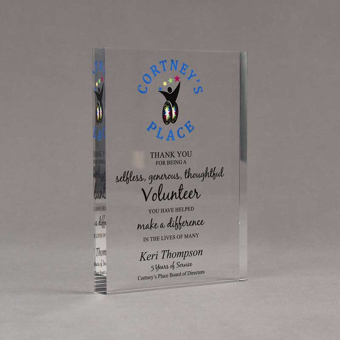 """Angle view of Aspect™ 7"""" Rectangle™ Acrylic Award featuring full color imprinted Courtney's Place logo and Volunteer of the Year text."""