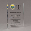 """Angle view of Aspect™ 8"""" Rectangle™ Acrylic Award featuring Montana State Seal printed in full color with service and dedication text."""