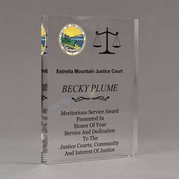 "Angle view of Aspect™ 8"" Rectangle™ Acrylic Award featuring Montana State Seal printed in full color with service and dedication text."