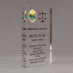 "Side view of Aspect™ 8"" Rectangle™ Acrylic Award featuring Montana State Seal printed in full color with service and dedication text."