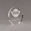 """Angle view of Aspect™ 6"""" Round™ Acrylic Award featuring laser engraved Classic Car Concepts logo and Custom Built text."""