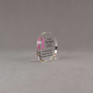 """Side view of Aspect™ 3"""" Round™ Acrylic Award  featuring Pink Ribbon logo and end cancer text."""