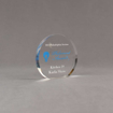 """Angle view of Aspect™ 4"""" Round™ Acrylic Award featuring full color Philadelphia Section logo and Retirement Award text."""