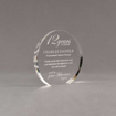 "Angle view of Aspect™ 5"" Round™ Acrylic Award featuring laser engraved 12 Years of Service logo and retirement text."