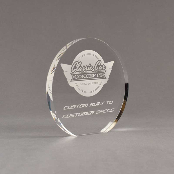 "Angle view of Aspect™ 6"" Round™ Acrylic Award featuring laser engraved Classic Car Concepts logo and Custom Built text."