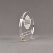 "Side view of Aspect™ 6"" Round™ Acrylic Award featuring laser engraved Classic Car Concepts logo and Custom Built text."