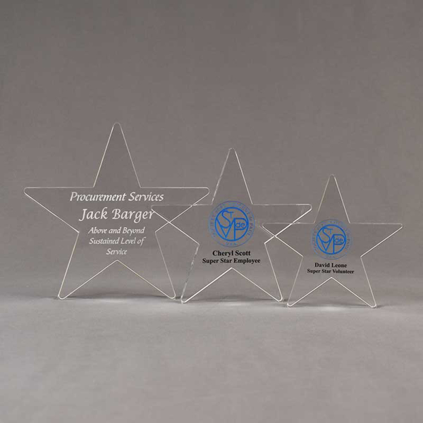 Aspect™ Shooting Star Acrylic Award Grouping showing all three sizes of acrylic trophies.
