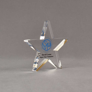 """Angle view of Aspect™ 6"""" Shooting Star™ Acrylic Award featuring St. Vincent de Paul logo printed in full color with Super Star Volunteer text."""