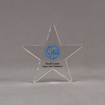 "Front view of Aspect™ 6"" Shooting Star™ Acrylic Award featuring St. Vincent de Paul logo printed in full color with Super Star Volunteer text."