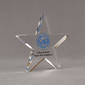 """Angle view of Aspect™ 7"""" Shooting Star™ Acrylic Award featuring St. Vincent de Paul logo printed in full color with Super Star Employee text."""