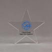 """Front view of Aspect™ 7"""" Shooting Star™ Acrylic Award featuring St. Vincent de Paul logo printed in full color with Super Star Employee text."""