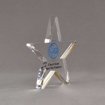 """Side view of Aspect™ 7"""" Shooting Star™ Acrylic Award featuring St. Vincent de Paul logo printed in full color with Super Star Employee text."""