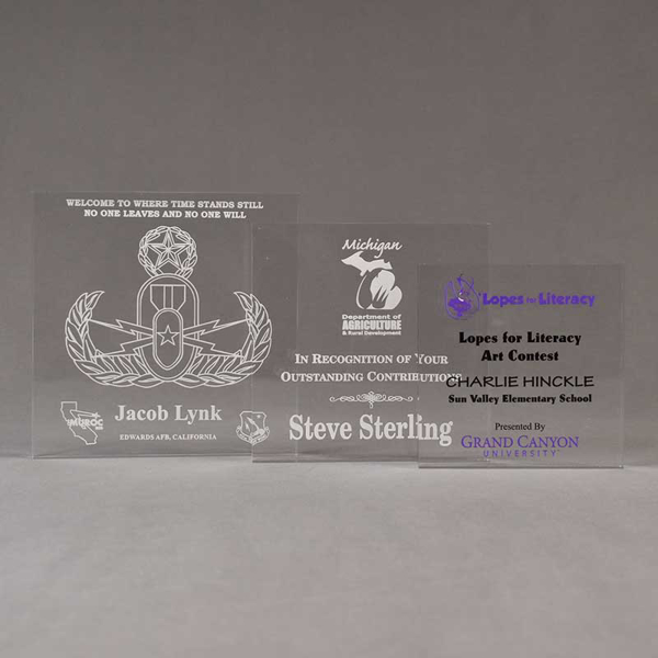 Aspect™ Square Acrylic Award Grouping showing all three sizes of acrylic trophies.