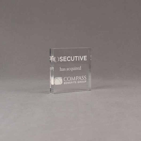 "Angle view of Aspect™ 3"" Square™ Acrylic Award featuring SECUTIVE logo laser engraved and Compass Benefits Group text."