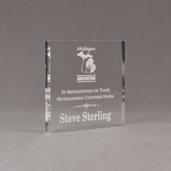 """Angle view of Aspect™ 5"""" Square™ Acrylic Award featuring laser engraved Michigan Agriculture logo and outstanding contributions text."""