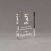 """Side view of Aspect™ 5"""" Square™ Acrylic Award featuring laser engraved Michigan Agriculture logo and outstanding contributions text."""