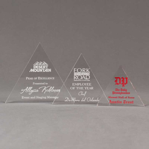 Aspect™ Triangle Acrylic Award Grouping showing all three sizes of acrylic trophies.