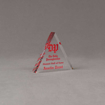 """Angle view of Aspect™ 4"""" Triangle™ Acrylic Award featuring the Daily Pennsylvanian logo printed in full color with Alumni Hall of Fame text."""