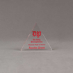"Front view of Aspect™ 4"" Triangle™ Acrylic Award featuring the Daily Pennsylvanian logo printed in full color with Alumni Hall of Fame text."