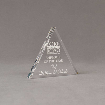 """Angle view of Aspect™ 5"""" Triangle™ Acrylic Award featuring laser engraved Fork in the Road logo and Employee of the Year text."""