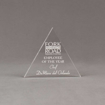 """Front view of Aspect™ 5"""" Triangle™ Acrylic Award featuring laser engraved Fork in the Road logo and Employee of the Year text."""