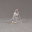 """Side view of Aspect™ 5"""" Triangle™ Acrylic Award featuring laser engraved Fork in the Road logo and Employee of the Year text."""