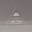 """Front view of Aspect™ 6"""" Triangle™ Acrylic Award featuring Desert Mountain logo laser engraved with Peak of Excellence text."""