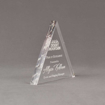 """Side view of Aspect™ 6"""" Triangle™ Acrylic Award featuring Desert Mountain logo laser engraved with Peak of Excellence text."""