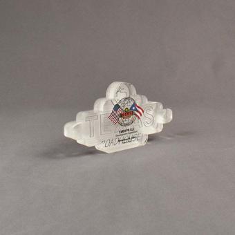 Angle view of 15 Square Inch Elite Series LaserCut™ Acrylic Award with custom shape of Texas Roadhouse logo.
