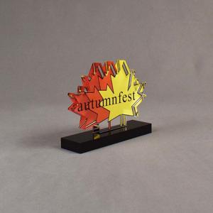 Angle view of 36 Square Inch Elite Series LaserCut™ Acrylic Award with custom shape of Autumnfest maple leaf logo.