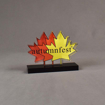 Front view of 36 Square Inch Elite Series LaserCut™ Acrylic Award with custom shape of Autumnfest maple leaf logo.