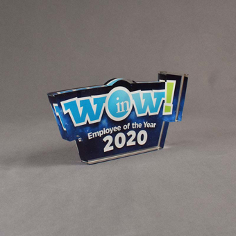 Angle view of 50 Square Inch Elite Series LaserCut™ Acrylic Award with custom shape of WOW Employee of the Year logo.