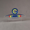 Front view of 65 Square Inch Elite Series LaserCut™ Acrylic Award with custom shape of TEAMWORK Excellence logo.