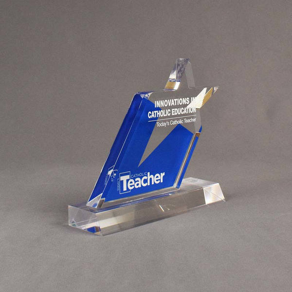 Angle view of 80 Square Inch Elite Series LaserCut™ Acrylic Award with custom shape of Catholic Teacher Education Star logo.
