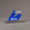 Front view of 80 Square Inch Elite Series LaserCut™ Acrylic Award with custom shape of Catholic Teacher Education Star logo.
