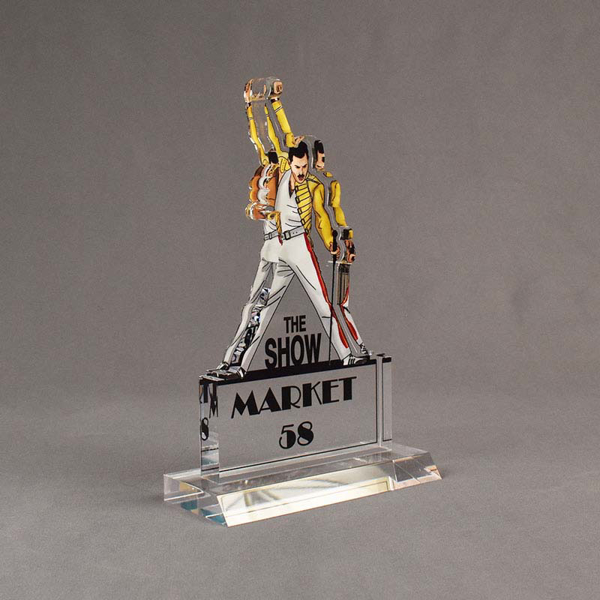 Angle view of 100 Square Inch Elite Series LaserCut™ Acrylic Award with custom shape of The Show Market 58 logo.
