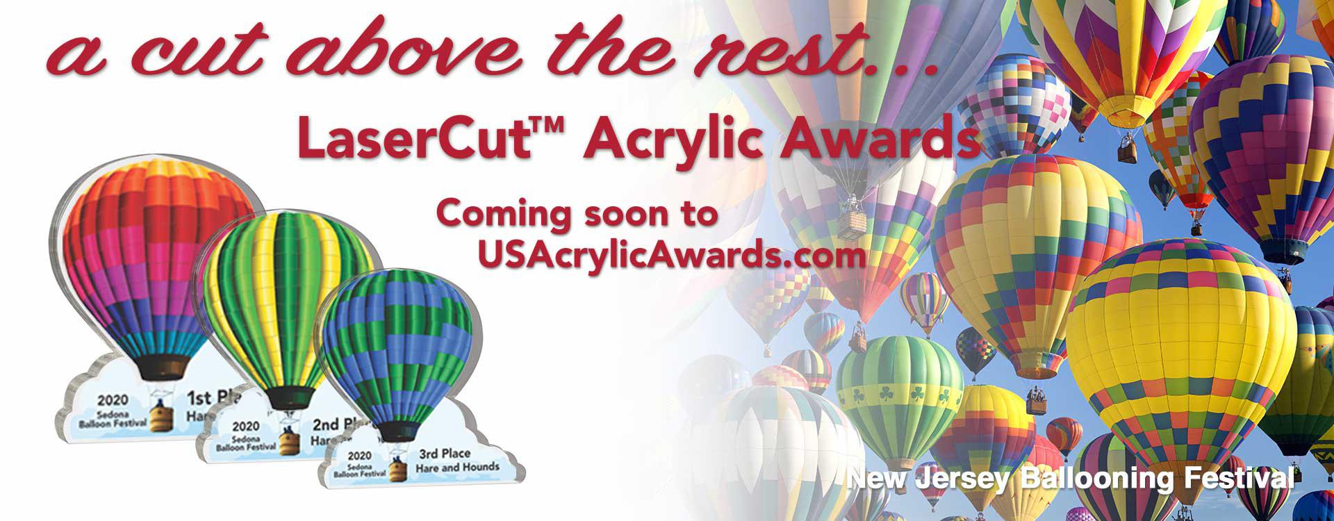 LaserCut™ hot air ballon acrylic awards displayed over hundreds of floating hot air balloons at New Jersey Balloon Festival.