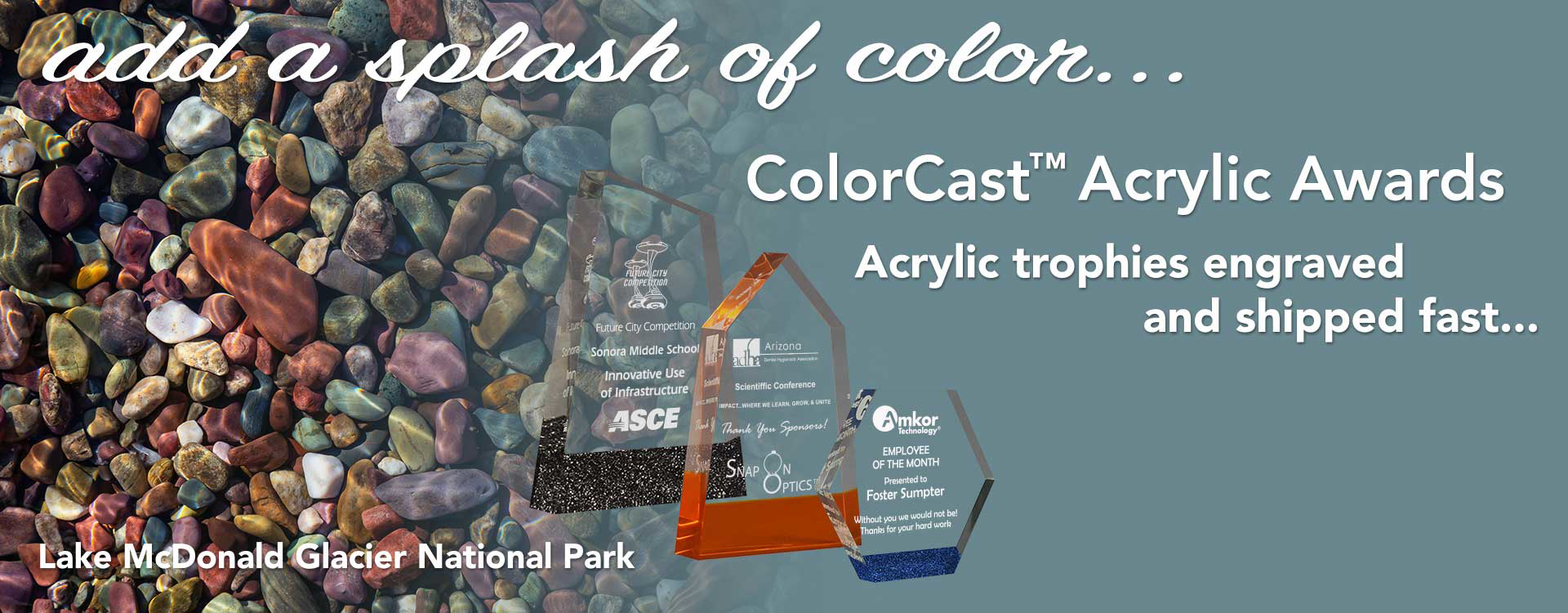 Three colorful ColorCast™ Acrylic Awards with text — Acrylic trophies engraved and shipped fast - add a splash of color...