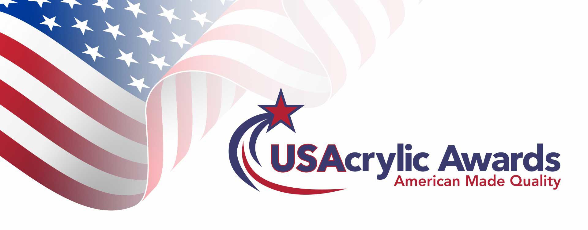 Waving American flag with US Acrylic Awards logo