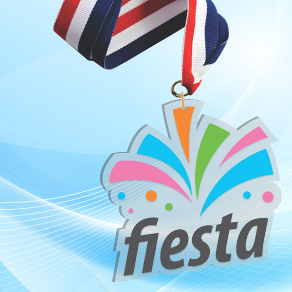 """3"""" LaserCut Custom Acrylic Medal with UV printed Fiesta event logo and red white and blue neck ribbon."""