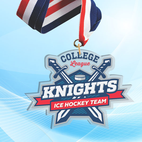 """4"""" LaserCut Custom Acrylic Medal with UV printed Knights Hockey Team logo and red white and blue neck ribbon."""