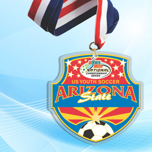 """5"""" LaserCut Custom Acrylic Medal with UV printed US Youth Soccer event logo and red white and blue neck ribbon."""