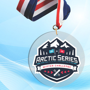 """2"""" LaserCut Circle Acrylic Medal with UV printed Arctic Series event logo and red white and blue neck ribbon."""