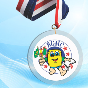 """3"""" LaserCut Circle Acrylic Medal with UV printed BCMC event logo and red white and blue neck ribbon."""