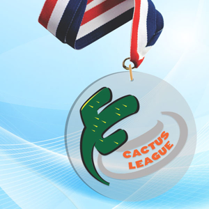 """4"""" LaserCut Circle Acrylic Medal with UV printed Cactus League event logo and red white and blue neck ribbon."""