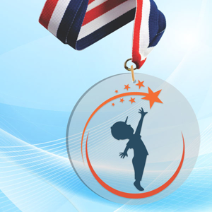 """5"""" LaserCut Circle Acrylic Medal with UV printed Reaching for the Stars event logo and red white and blue neck ribbon."""