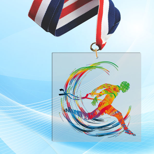 """2"""" LaserCut Square Acrylic Medal with UV printed Cross Country event logo and red white and blue neck ribbon."""